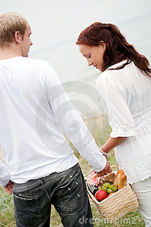 Cute couple going to picnic