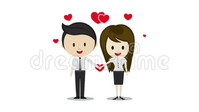 Cute Couple In Love Holding Hands Cartoon Characters Stock Video