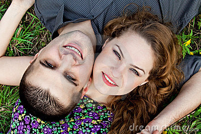 Cute couple portrait - happy lovers