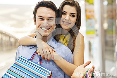 Cute couple during shopping