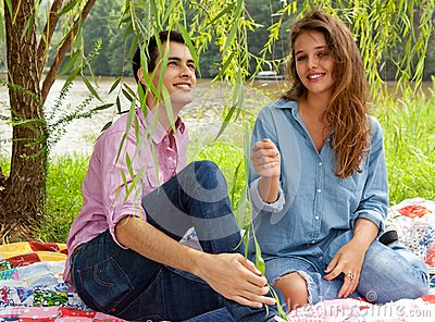 Cute Couple Under Willow Tree