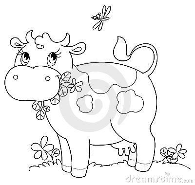 Cute cow bw