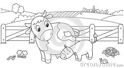Cute cow feeding calf
