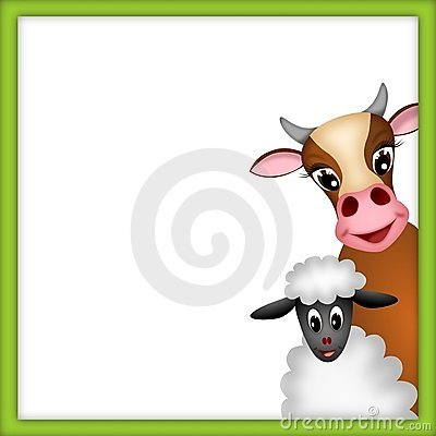 Cute cow and lamb in green frame
