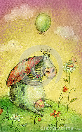 Free Cute Cow With Balloon.Children Illustration. Cartoon Childish Background In Vintage Colors. Royalty Free Stock Photography - 42161467