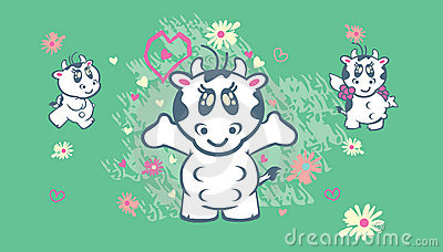 Cute cows illustration