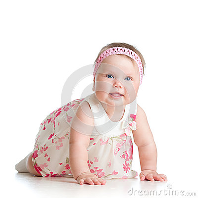 Cute crawling baby girl on white