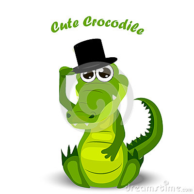 Cute crocodile or alligator Vector Illustration