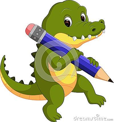 Cute crocodile holding pencil Vector Illustration