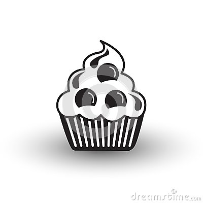 Cute cup cake dessert icon black and white vector with shadow, s Vector Illustration