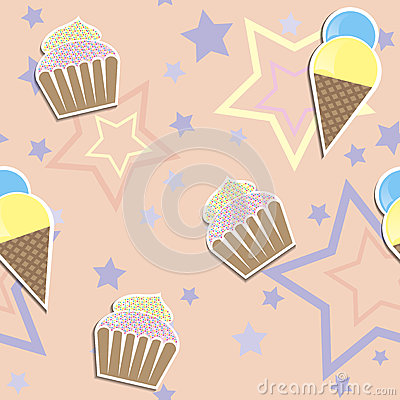 Cute cupcake ads ice cream seamless background