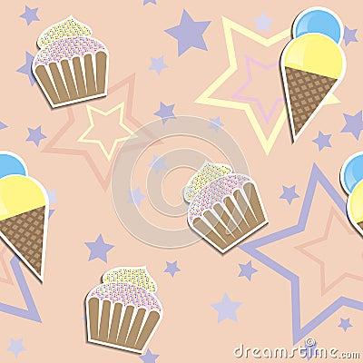 Cute cupcake ads ice cream seamless background