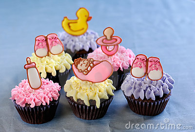 Cute cupcakes for a baby shower or christening