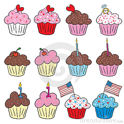 Free Cute Cupcakes In Many Styles Royalty Free Stock Images - 7731659