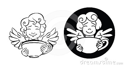 A cute cupid, holds a cup of coffee