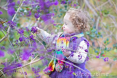 Cute curly baby girl with colorful purple berry tree