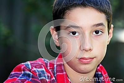 Cute Dark Eyed Tween Boy