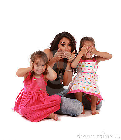 Cute daughters and mom
