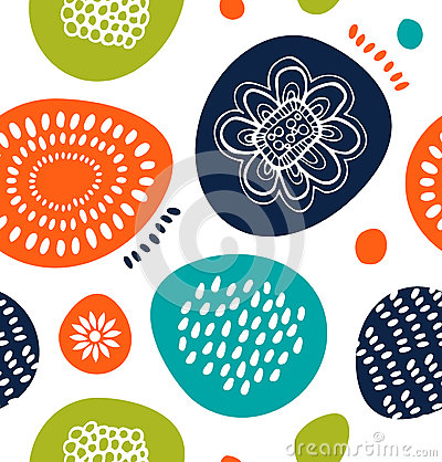Free Cute Decorative Pattern In Scandinavian Style. Abstract Background With Colorful Simple Shapes. Royalty Free Stock Image - 64283966