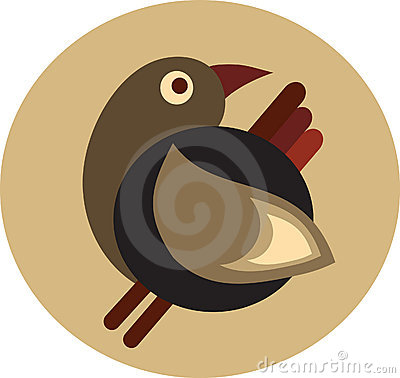 Cute decorative retro brown bird - 1