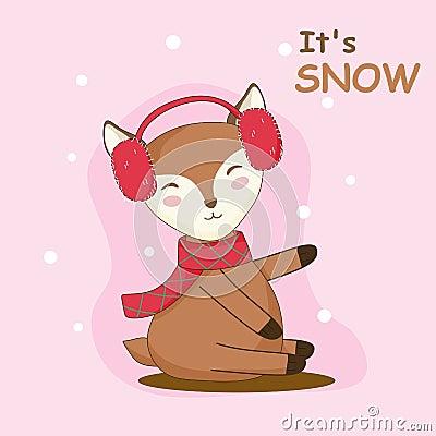 Cute deer graphic enjoy the snow Vector Illustration