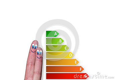 Diagram of house energy efficiency rating with cute fingers