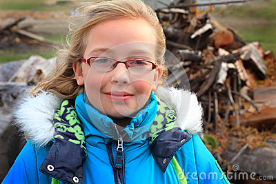 Cute Dimples, Hoody and Wood Pile