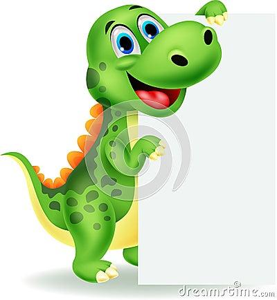 Cute Dinosaur Cartoon With Blank Sign Stock Photo Image