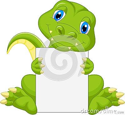 Free Cute Dinosaur Cartoon Holding Blank Sign Royalty Free Stock Image - 39150256