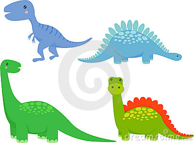 Cute dinosaur cartoon set