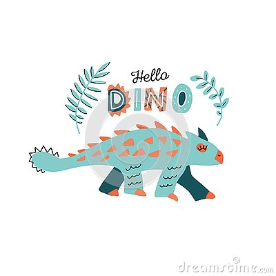 Cute dinosaur with spikes color hand drawn vector character. Hello dino handwritten lettering. Dino flat handdrawn clipart. Sketch Cartoon Illustration