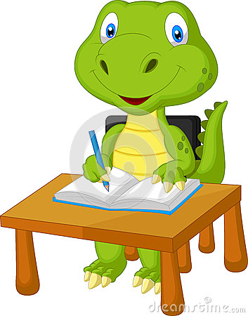 Free Cute Dinosaur Studying Royalty Free Stock Image - 45672086