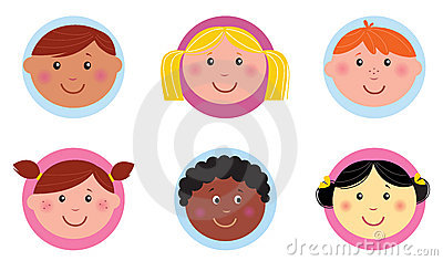 Cute diversity kids icons or buttons - pink / blue