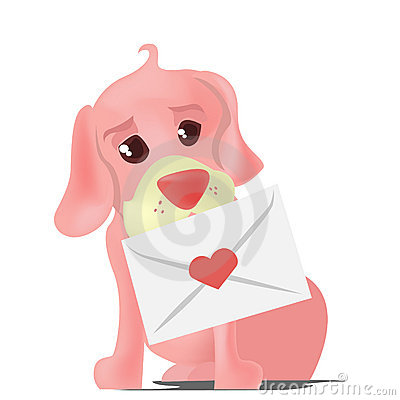 cute cartoon animals in love. Cute dog with heart letter