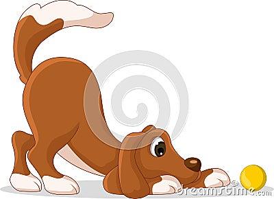 Cute dog cartoon playing yellow ball
