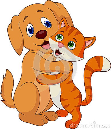 Cute dog and cat cartoon embracing each other