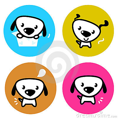 Cute dog colorful buttons