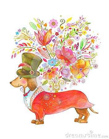 Free Cute Dog Giving Flowers Royalty Free Stock Images - 122616889