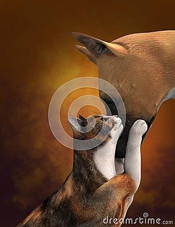 Cute Dog Love Cat Illustration Stock Photo