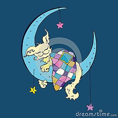 Cute dog sleeps on the Moon.