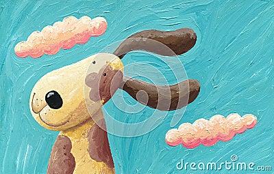 Cute dog in the wind