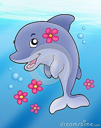 Cute dolphin girl in sea