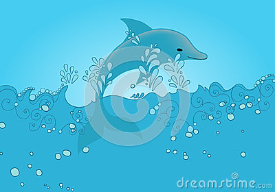 Cute dolphin jumping out of the ocean