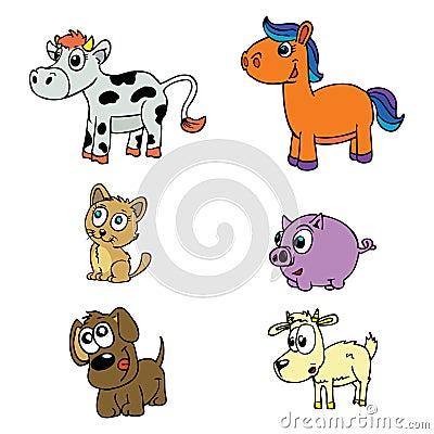 Cute domestic animals set