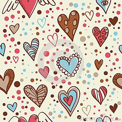 Cute doodle hearts seamless wallpaper