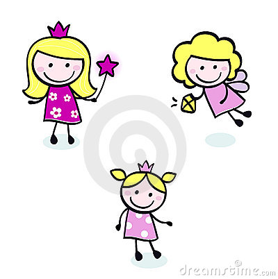 Free Cute Doodle Princess & Fairy Stitch Figures Set. Stock Image - 21158821