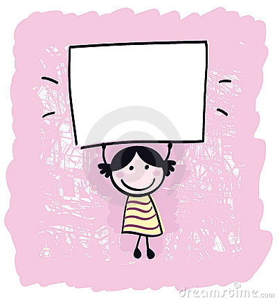 Cute doodle retro kid holding blank banner sign.
