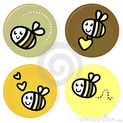 Free Cute Doodle Vector Bee Collection Royalty Free Stock Image - 22980506