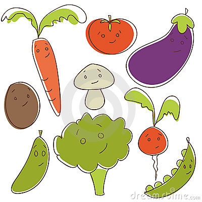 Cute doodle vegetables
