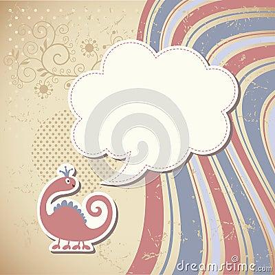 Cute dragon and speech bubble